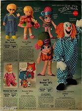1970 PAPER AD Doll Mattel Bozo Clown Furga Angela Catina Nora Simone Beasley