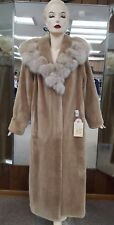 "CLEARANCE! Sheared Beaver Fur 53"" Coat with Fox Collar - size 14"