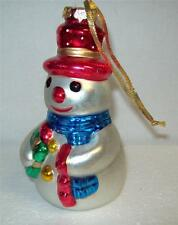 Tall SNOWMAN 1997 ARTIST SIGNED Christmas XMAS Tree ORNAMENT Handcrafted GLASS