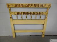 L.Hitchcock Ivory Paint Decorated Twin Size Headboard