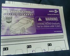 TRANSFORMERS ALTERNATORS DECEPTICHARGE INSTRUCTION BOOKLET ONLY FREE S/H