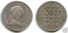IRLANDE GEORGES III BANK TOKEN 10 PENCE ARGENT 1805 !!!!!