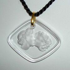 Authentic LALIQUE France Le Baiser Love Kiss Clear Crystal Pendant Necklace +Box