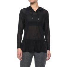 X by Gottex Mesh Sheer Ruffled Hoodie, Black, Size Small S/P NEW $88