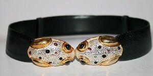 Vintage Judith Leiber Reptile Skin Frog Crystal Belt