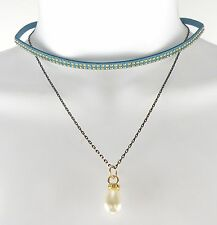 """Faux Leather Choker 11.5"""" Lobster Closing Necklace with Synthetic Pearl Pendant"""