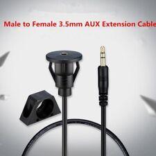 Car Dash Flush Mount 3.5MM AUX Lead Male to Female Extension Panel Cable HI