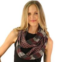 Men's Light Soft Preppy 2 Sided Plaid Cowl Long Circle Loop Infinity Scarf Wine