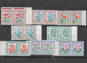France 1964-71 Postage Dues Flowers Set in Unmounted Mint Pairs