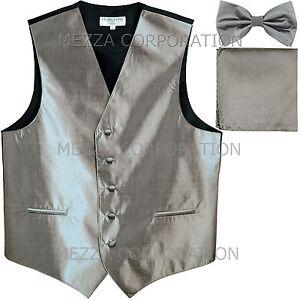 New men's shiny tuxedo vest waistcoat_bowtie set prom wedding chintz Silver Gray