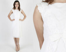 Vintage 60s White Chiffon Floral Embroidered Lace Mod Wedding Midi Mini Dress S
