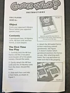Guess Who Replacement Instructions Directions Paper Sheet Childrens Game MB 2005