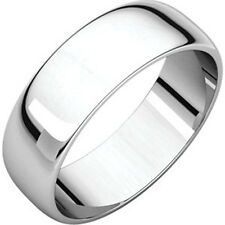 6mm 18K Solid White Gold Plain Dome Half Round Comfort Fit Wedding Band Size 11