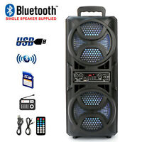 "Dual 6.5"" Portable Party Bluetooth Speaker FM USB Audio Stereo Remote Control"