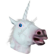 Unicorn Horse Head Mask Latex Prop Animal Cosplay Costume Party Halloween Mask