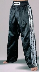 KWON Design-Satinhosen, schwarz/weiß 160cm. Kickboxen, Taekwondo, Kickboxhose
