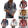 Long New Slim Tops Fit Men's Printed Fashion Sleeve Flower T-Shirt Casual Blouse