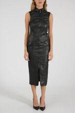 DROME New Woman Black Leather Sleeveless Shirt Dress Size S $1255 Full Zip SALES