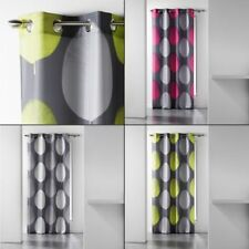 Tempo Eyelet Curtain Voile Panel with Circle Print - Grey Pink Lime Green