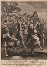 BIBLE. 2 Samuel 6.10, 14 David dancing before the Ark 1752 old antique print