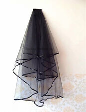 Women Wedding Black Short Veil With Comb Ribbon Edge Bridal Veils Girls Fancy