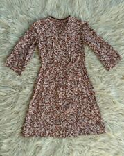 Vintage 30s 40s Bohemian Brown Floral Wide Sleeve Day Dress M/L