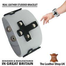 White Cross Studded Wristband Bracelet 100% Real Leather Handmade In England