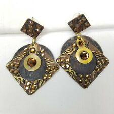 Mixed Metal Artisan Ethnic Boho Dangle Earrings