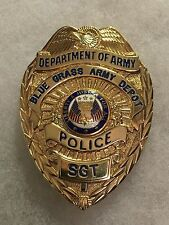 DEPT OF THE ARMY BLUE GRASS ARMY DEPOT POLICE BADGE
