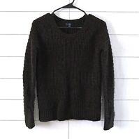 Gap Sweater Womens XS Black Gold Metallic Knit Crew Neck Long Sleeve Pullover
