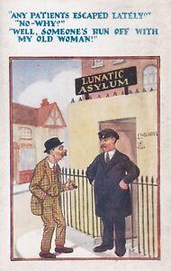 Comic Postcard - Lunatic Asylum - Any Patients Escaped