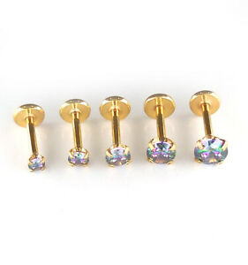 16G 18G Gold Tone Prism ThreadLess Jewelry Triple Helix Nose Earring Rings 6-8mm