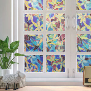 Flower Frosted Window Film Static Cling Stained Glass Sticker Privacy Home Decor