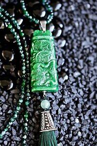Dark Green Carved Jade Pendant Long Necklace Jadeite Bead Choker Hand Carved Gem