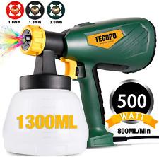 Farbsprhsystem, TECCPO 500W HVLP Farbspritzpistole 800ml/min, Elektrische Sprit