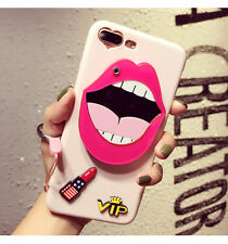 Fashion Cute Cartoon Cosmetic Mirror TPU Back Case Cover For iPhone 8 7 6s Plus