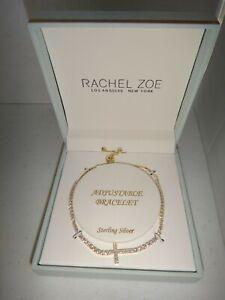 RACHEL ZOE Gold Tone 925 Sterling Silver Adjustable Bracelet Cross Crystals +BOX