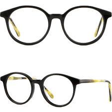 Damen Kunststoff Brille Pantobrille Fassung Rund Gestell Brillengestell Schwarz