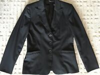 Elie Tahari 3 Button Fully Lined Blazer Jacket Women's Black Size 6 US 10 UK