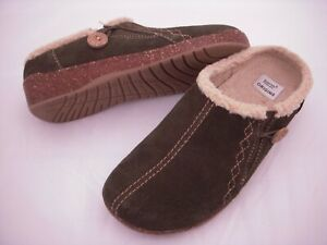 Earth Origins Johanna Suede Faux Fur Slip-On Clogs Women Shoes 6.5 M Olive Green