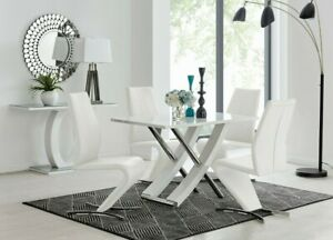 Luxury White High Gloss Chrome Dining Table With 4 Willow Chair Dining Set