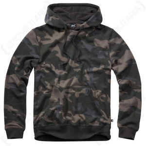 Brandit Hooded Long Sleeve Hoddie Sweat Shirt - Dark Camo - Various sizes