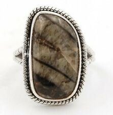 Natural Fossil Orthoceras 925 Sterling Silver Ring Jewelry Sz 6.5, CT24-4