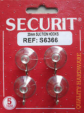 Suction hooks clear plastic metal hook 20mm pack of 4 by Securit S6366