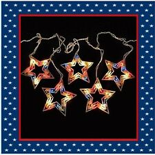 5 Count Patriotic Red White Blue Twinkle Stars Icicle Lights 4th of July (New)