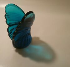 PEACOCK blue fenton paperweight butterfly vtg table art glass aqua bug sculpture