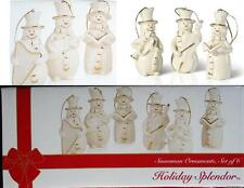 6-pc Mikasa SNOWMEN PORCELAIN ORNAMENTS 24k Gold HOLIDAY Musical Snow Carolers