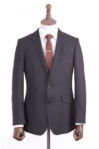 Men's Charcoal Grey Pinstripe Suit Tailored Fit Burtons