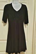 BCBG Max Azria Little Black Dress Size Medium Short Sleeves Beading
