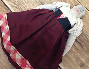 Antique Doll Handcrafted AS IS Cloth Body Saturday Underwear Woman Peasant Skirt